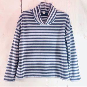 J. CREW | Striped Cowl Neck Sweatshirt Pullover XS